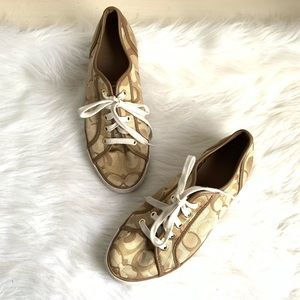 Coach brown & tan leather sneakers size 8.5